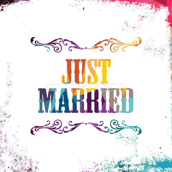 just married bstract colorful triangle geometrical greetings Stock photo © vector1st