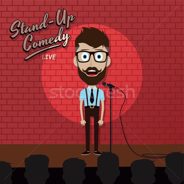 Volwassen mannelijke stand omhoog komiek Stockfoto © vector1st