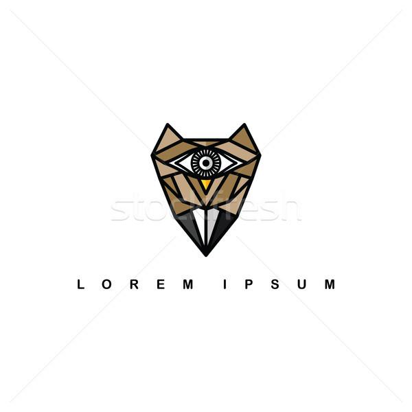 Сток-фото: коричневый · один · глаза · совы · логотип