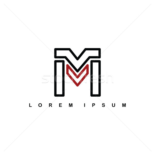 m alphabet letter art theme logo logotype Stock photo © vector1st