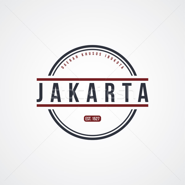 jakarta badge indonesia label theme Stock photo © vector1st