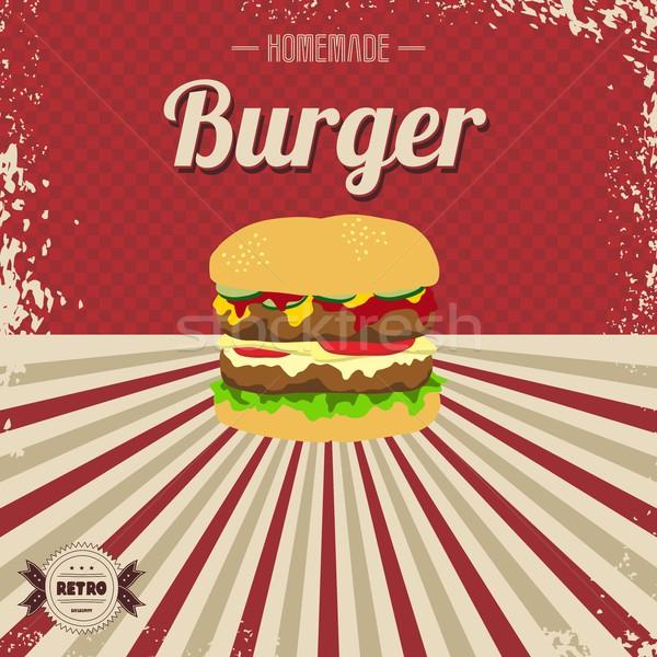 Retro de comida rápida página plantilla vector arte Foto stock © vector1st