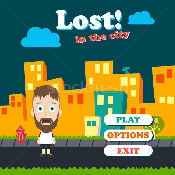 Játék nyereség vicces fickó rajz rajzfilmfigura Stock fotó © vector1st