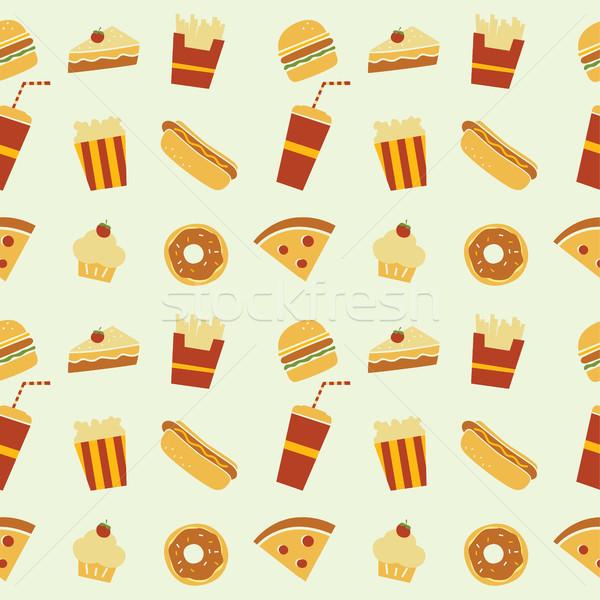 бесшовный ресторан шаблон вектора искусства иллюстрация Сток-фото © vector1st