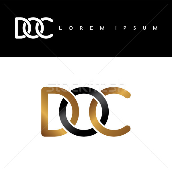 initial letter linked circle uppercase logo gold black background Stock photo © vector1st