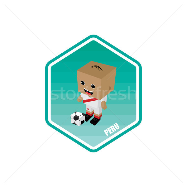 Futball izometrikus Peru vektor művészet rajz Stock fotó © vector1st