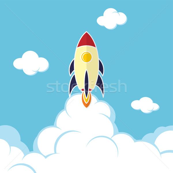 Rakéta hajó indulás vektor művészet illusztráció Stock fotó © vector1st