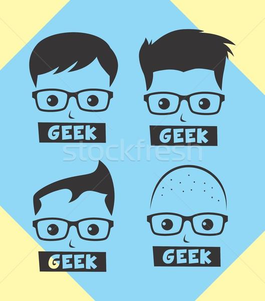 Geek avatar wektora graficzne sztuki Zdjęcia stock © vector1st
