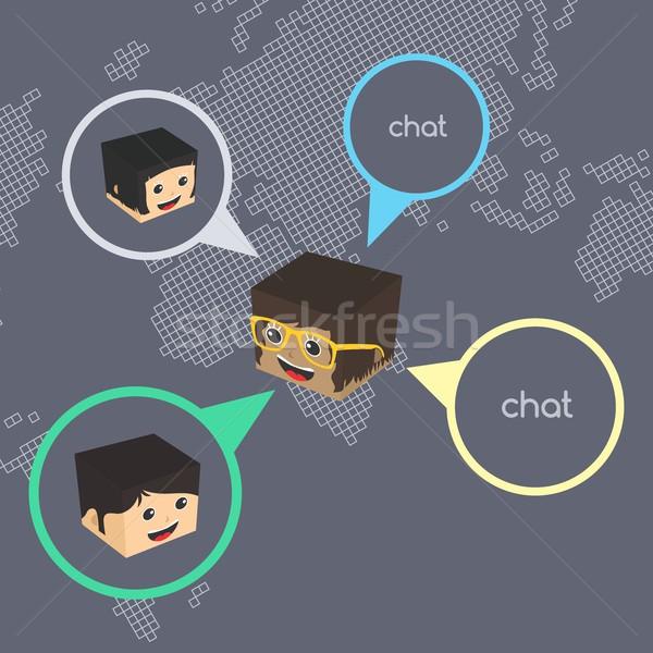 Zdjęcia stock: Izometryczny · cartoon · chat · wektora · sztuki