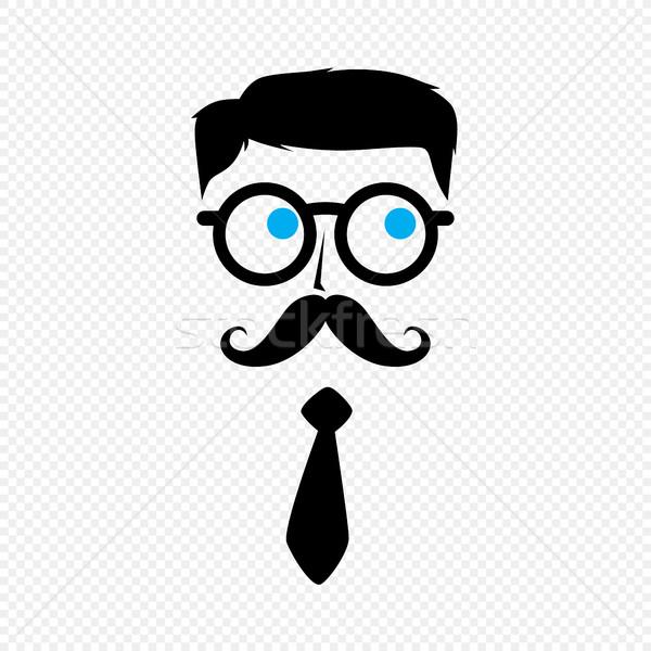 Geek NERD парень усы галстук вектора Сток-фото © vector1st