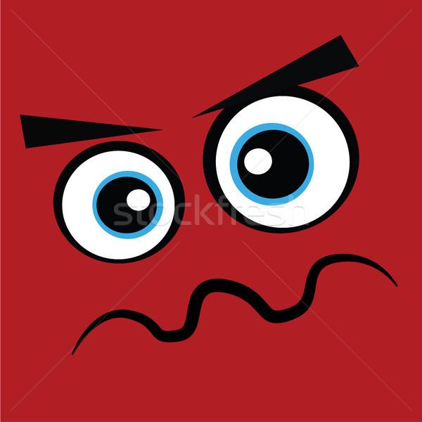 Kırmızı canavar yüz öfkeli kötü vektör Stok fotoğraf © vector1st