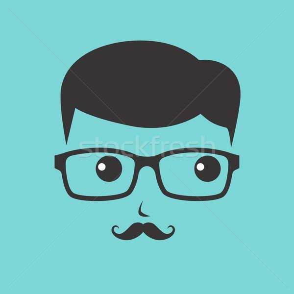 Stréber rajzfilmfigura avatar vektor grafikus művészet Stock fotó © vector1st