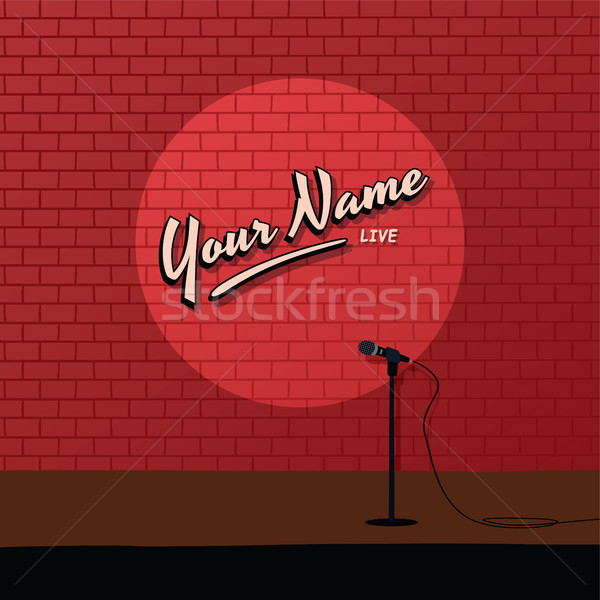 Rouge brique stand up comédie cartoon Photo stock © vector1st