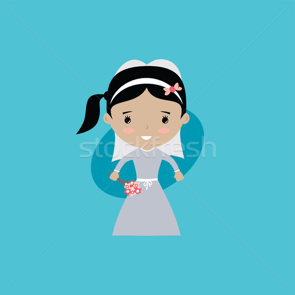 Adorable novia matrimonio Cartoon vector arte Foto stock © vector1st