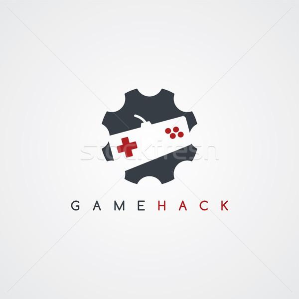 Videojáték botkormány törődés szolgáltatás ikon felirat Stock fotó © vector1st