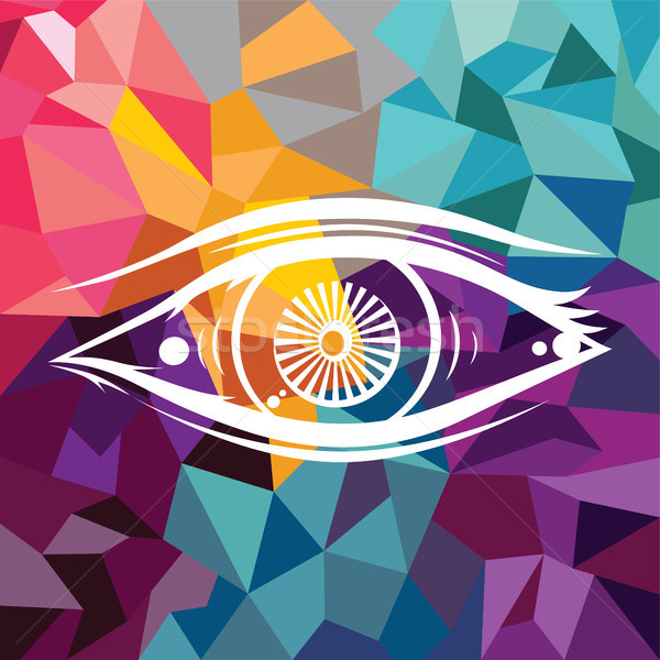 Abstract colorful triangle geometrical eye Stock photo © vector1st