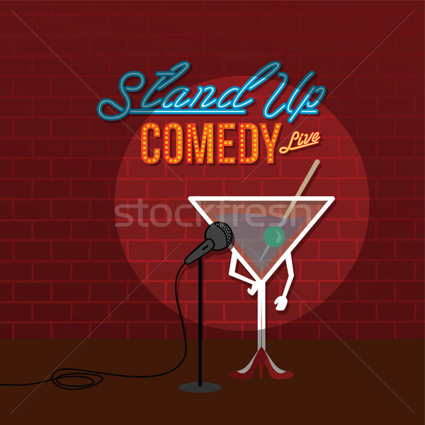 Stand up comédie ouvrir martini vecteur Photo stock © vector1st