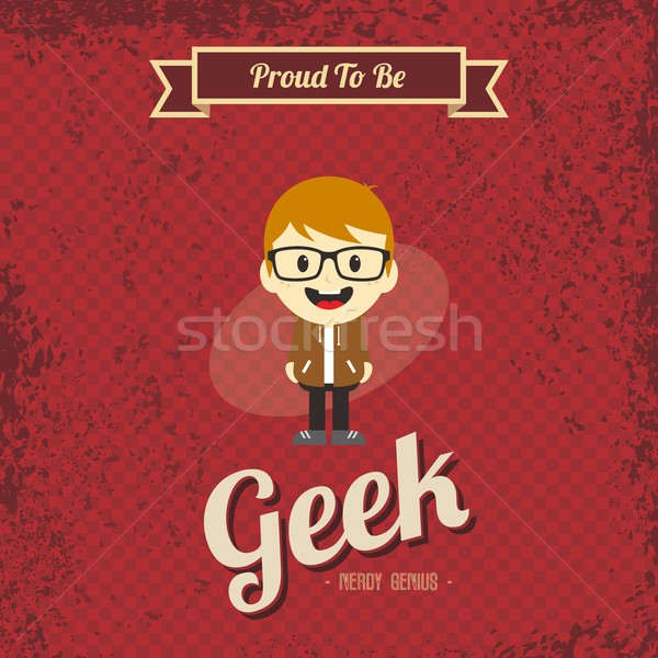 Genie Geek Retro Karikatur Vektor Kunst Stock foto © vector1st