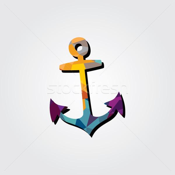 аннотация якорь красочный треугольник геометрический пиратских Сток-фото © vector1st