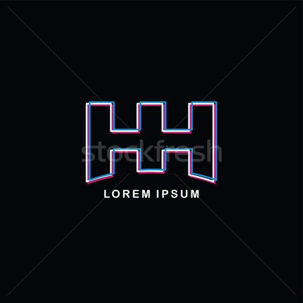 initial neon light letter brand logo template logotype Stock photo © vector1st