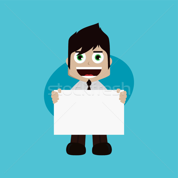 businessman manager at work holding blank sign cartoon vector art Stock photo © vector1st