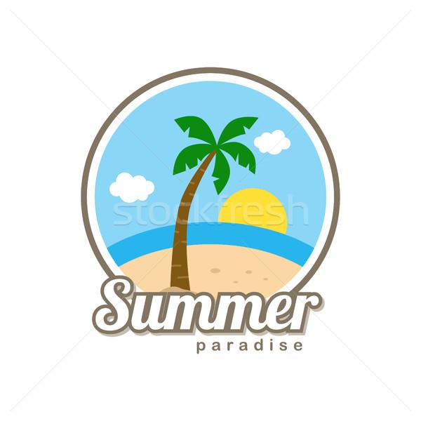 Plaj zaman tropical island yaz tatili vektör sanat Stok fotoğraf © vector1st