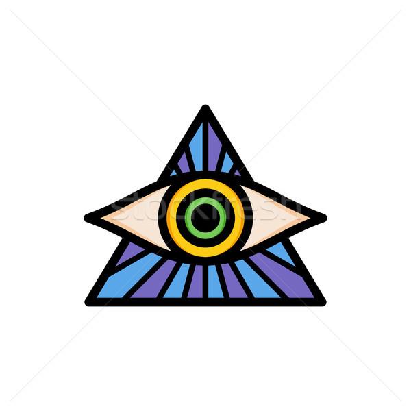 one eye of god religious sign symbol logo logotype Stock photo © vector1st