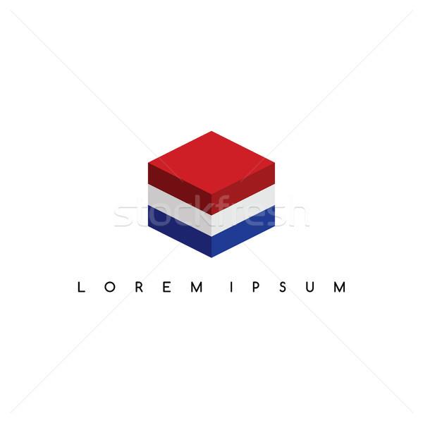 Nederland isometrische vierkante vak teken logo Stockfoto © vector1st