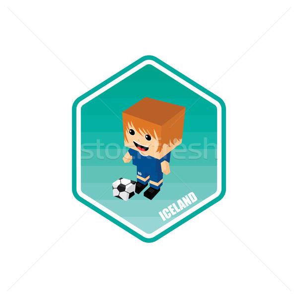 Futbol izometrik İzlanda vektör sanat karikatür Stok fotoğraf © vector1st