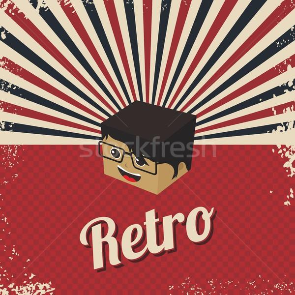 Retro rajzfilmfigura izometrikus vektor grafikus illusztráció Stock fotó © vector1st