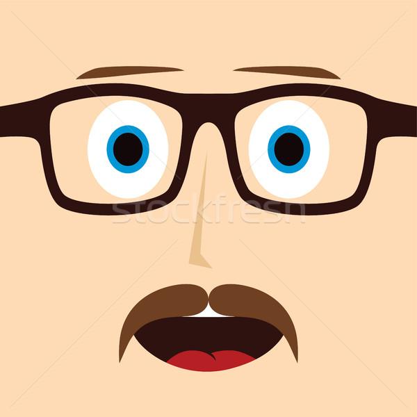 Stréber bajusz fickó rajzfilmfigura vektor művészet Stock fotó © vector1st