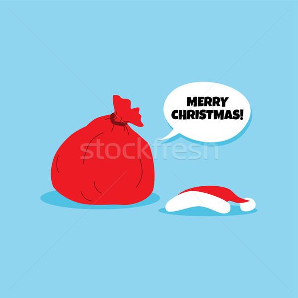 Noel baba Noel hediye çanta Stok fotoğraf © vector1st