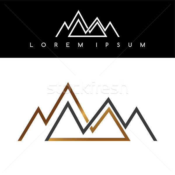Overlapped line mountains symbol golden monochromatic sign logotypes logo Stock photo © vector1st