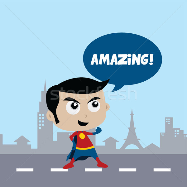 çok güzel şaşırtıcı karikatür süper kahraman klasik poz Stok fotoğraf © vector1st