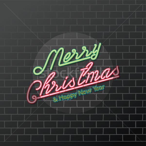 Neşeli Noel happy new year neon vektör Stok fotoğraf © vector1st