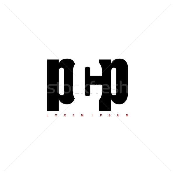 alphabet art logo logotype black and white theme Stock photo © vector1st