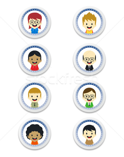adorable boy cartoon character label Stock photo © vector1st