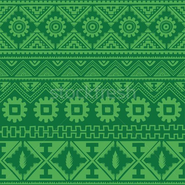 Verde nativo americano etnica pattern vettore Foto d'archivio © vector1st