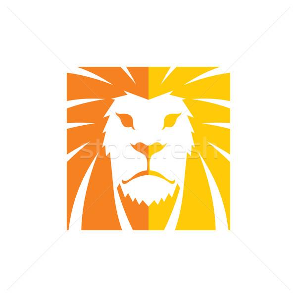 Leeuw hoofd sjabloon logo vector kunst Stockfoto © vector1st
