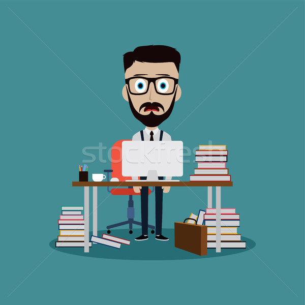 stressful businessman working behind office desk Stock photo © vector1st