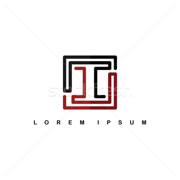 overlap line art template logo logotype alphabet letter i Stock photo © vector1st