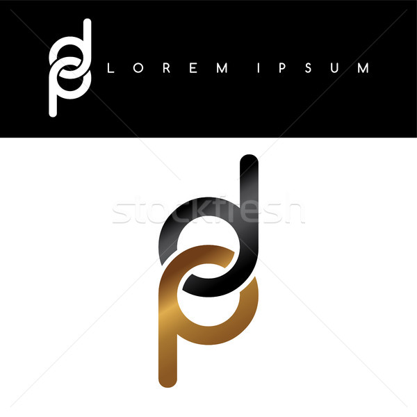 initial letter linked circle lowercase logo gold black background Stock photo © vector1st