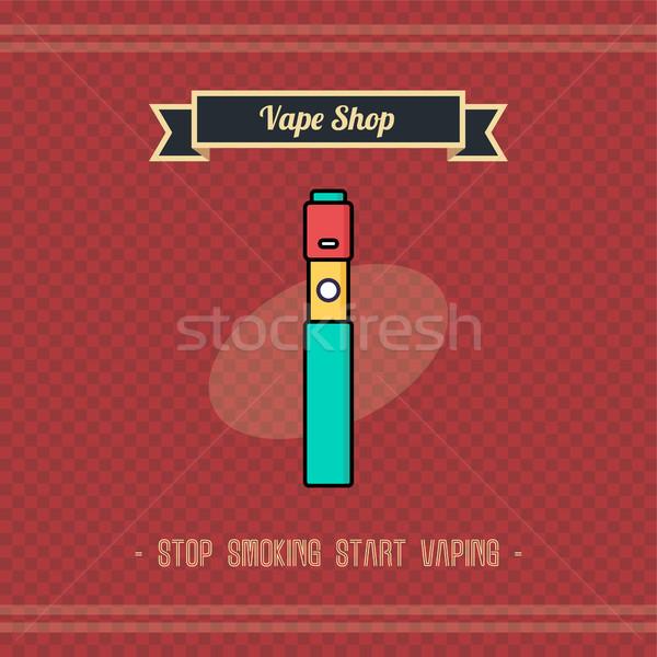 Retro elettrici sigaretta vapori vita vettore Foto d'archivio © vector1st