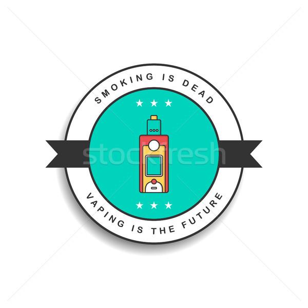 ストックフォト: レトロな · 色 · バッジ · 電気 · たばこ · ベクトル