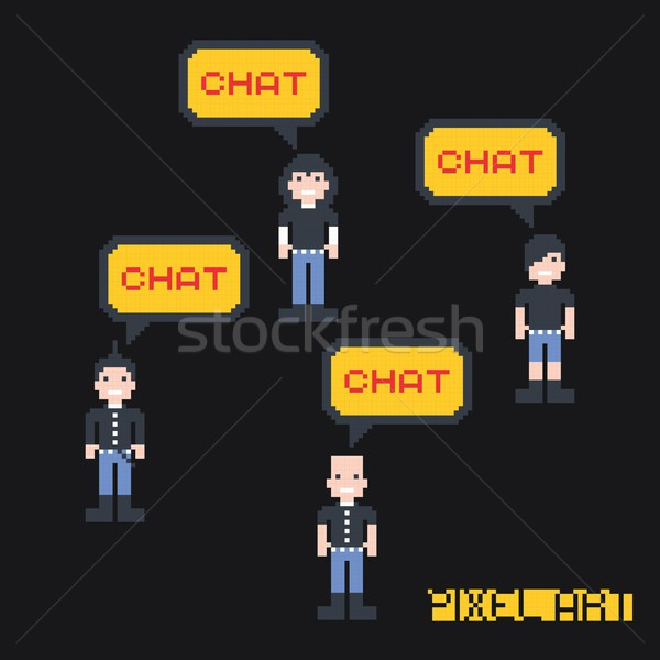 cartoon pixel art character Stock photo © vector1st