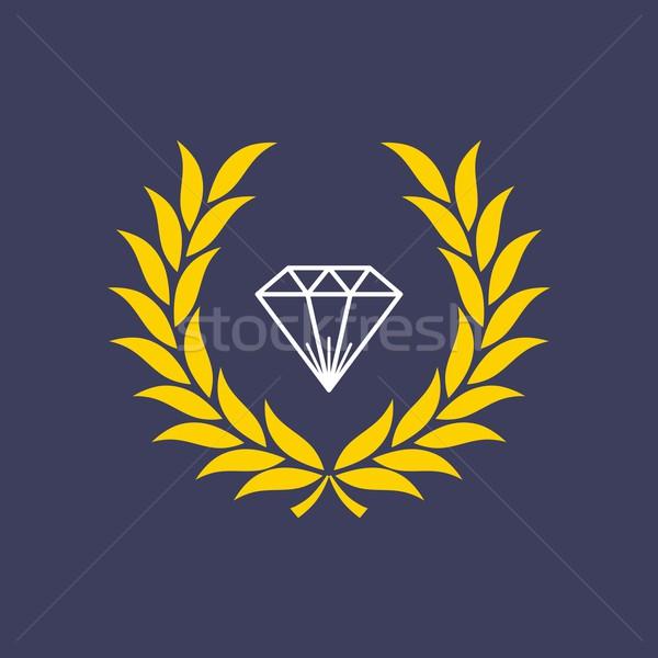 Diamant à l'intérieur couronne vecteur art illustration Photo stock © vector1st