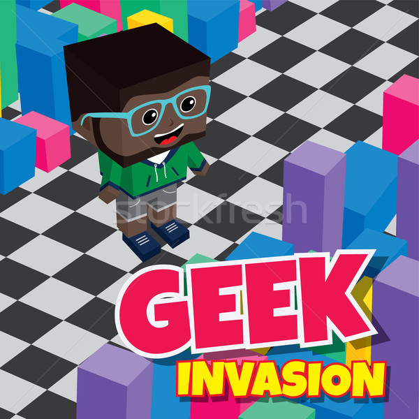 Geek jongen invasie video game isometrische Stockfoto © vector1st