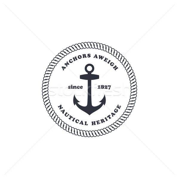 Foto stock: Marinheiro · âncora · oceano · vetor · arte