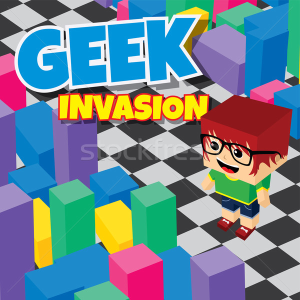 Geek jongen invasie video game isometrische Stockfoto © vector1st