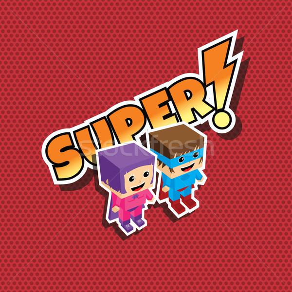 Сток-фото: Superhero · пару · Cartoon · человека · Sexy